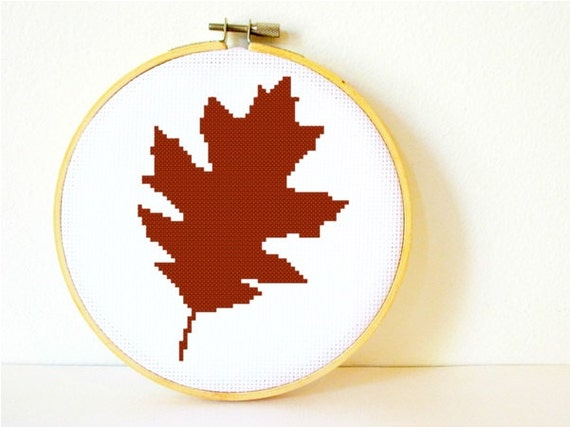 Counted Cross stitch Pattern PDF. Instant download. Oakleaf. Includes easy beginner instructions.