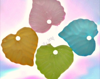 Multicolor Acrylic Heart Leaf Charms