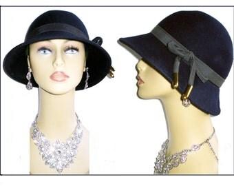 Vintage 1950s Hat  Navy Blue Femme Fatale Couture Mad Men Garden Party Rockabilly Designer Dress Pinup Bombshell Coat Jacket