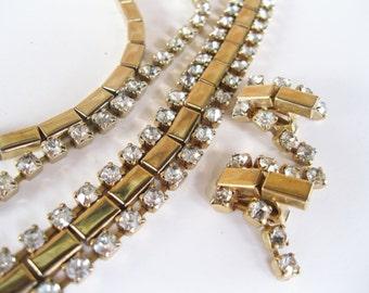 Necklace Bracelet Earrings Set Rhinestones Vintage Parure Wedding Jewelry. free shipping