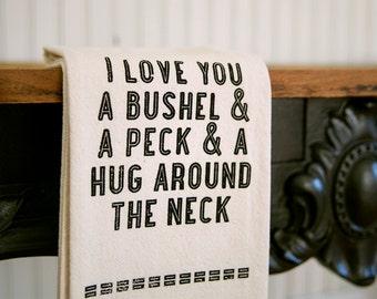 Tea Towel - Hand Printed Organic Flour Sack - Bushel & A Peck