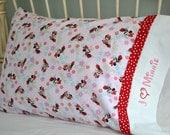 Pair of Disney Minnie Mouse Pillowcases Standard Size Cotton Embroidered Hand Made