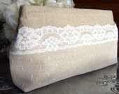 Natural Linen and Lace Bridal Clutch Purse / Swiss Dot / Rustic Wedding