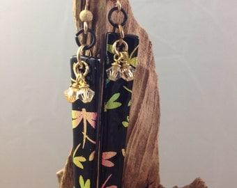 Dragonfly earrings, black dragonfly earrings, dichroic glass earrings, black  glass earrings with dragonfly, OOAK, handmade, dangle earrings
