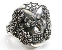 Spider Web and Flowers Sugar Skull Ring - Sterling Silver - Day of the Dead