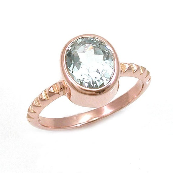 Oval Aquamarine Solitaire with Rose Gold Pyramid Band - Bezel Set with Pyramids - 1.71 carats - Ready to Ship Size 5 - 7