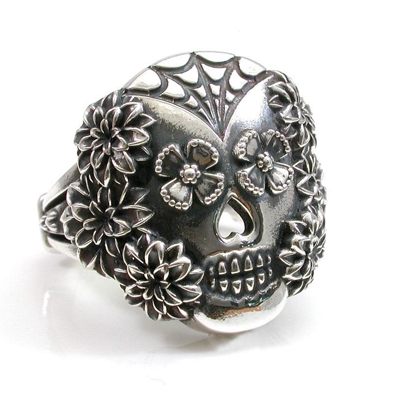 Spider Web And Flowers Sugar Skull Ring By Swankmetalsmithing