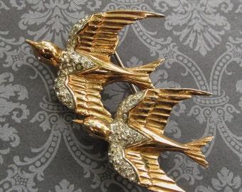 Antique Coro Craft Sterling Heavenly Swallows Duet Brooch Vermeil Rhinestone Birds Pin Jewelry Pegasus Makers Mark