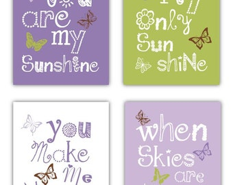 Girls Purple Art - Butterfly Nursery Decor - You are my sunshine Prints - Butterfly Art for Girls - Purple and Green Nursery Art - 4-8x10""