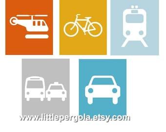 Transportation Nursery Decor // Transportation wall Art for kids // Vehicle art for kids // Car Art For Kids // PRINTS ONLY
