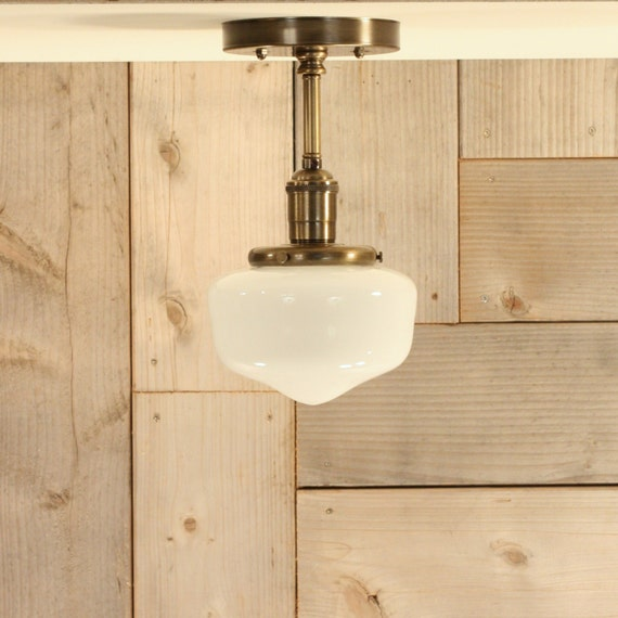 Semiflush Lighting with Petite Schoolhouse Style Glass Shade -  lighting