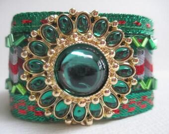 Green Emerald Cuff Bracelet Fabric Jeweled Beaded