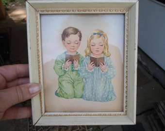 Vintage 1940s to 1950s  A. Lambert 5x6 Print Praying Boy and Girl White Wood Picture Frame With Gold Accent
