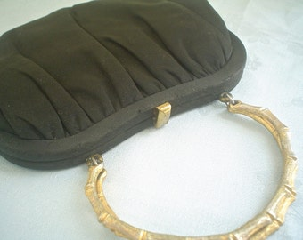 Tiny Vintage Black Evening Bag with Bamboo Handle