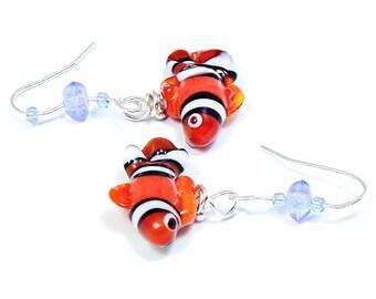 Glass clown fish earrings on a sterling silver hooks
