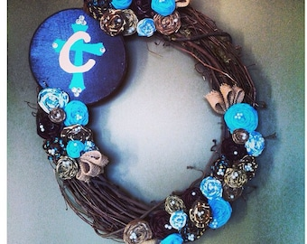 """Turquoise & Brown 18"""" Rosette Wreath with Hand-Painted Sign"""