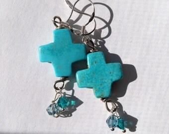 Turquoise Cross Earrings, Christian, Silver earrings, Etsy jewelry, Lilyb444