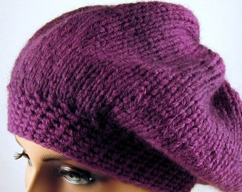 Slouchy Hat / Beret Wool in Berry Color