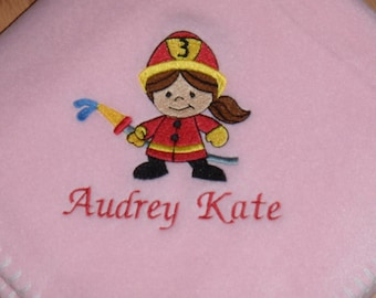 Firefighter Fireman Baby Girl Blanket Personalized Free