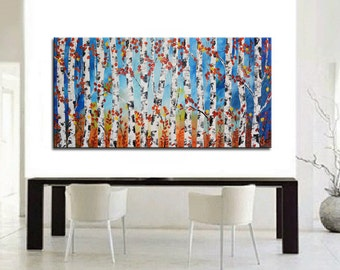 Original Birch Painting, Landscape Painting, Modern Painting, Fall Birch Tree, Palette Knife, Heavy Textured, Aspen Trees huge forest