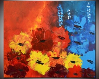 Abstract Red Flowers Painting, Original Modern Abstract  Palette Knife Impasto, Original Modern Flowers, Ready to Hang