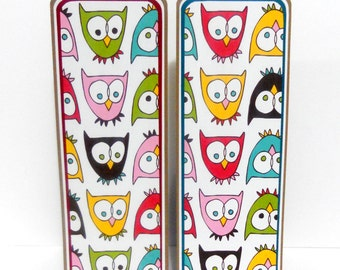 CLEARANCE- Paper Bookmarks: Owl Set of 2- approx. 2 1/2 x 7 inches
