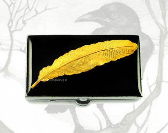 Small Metal Pill Box Ravens Feather Inlaid in Hand Painted Glossy Enamel Neo Victorian Writing Quill Custom Colors and Personalized Options