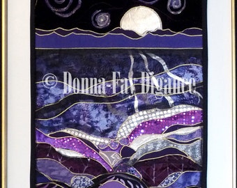 Purple Fabric Collage  Silver Moon Wall Hanging  Decor
