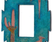 "CopperCutts Roadrunner with Cactus 4.25"" x 6"" Single Rocker Switch Plate"