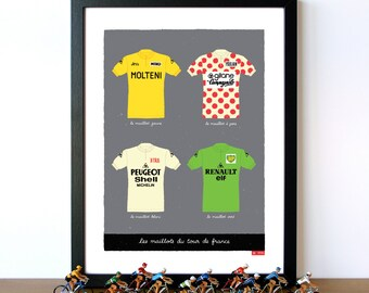 Bike Art Print, Tour de France, Classic French Cycling Jerseys Print