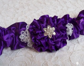 Purple Wedding Garter Lace and Purple Rose with Rhinestone Center, Prom Garter, Wedding Garter
