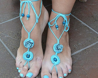 turquoise crochet Bidal Barefoot Sandals, Bridal Foot Jewelry, Beach Wedding Barefoot Sandals, Barefoot Wedding Sandal, Boho Wedding Shoes