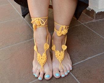 yellow crochet Bidal Barefoot Sandals, Bridal Foot Jewelry, Beach Wedding Barefoot Sandals, Barefoot Wedding Sandal, Boho Wedding Shoes