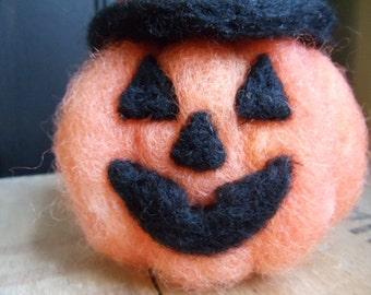 Needle Felted Jack O Lantern with Witches Hat Halloween Decoration