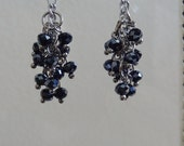 Silver and Navy Cluster Dangle Earrings