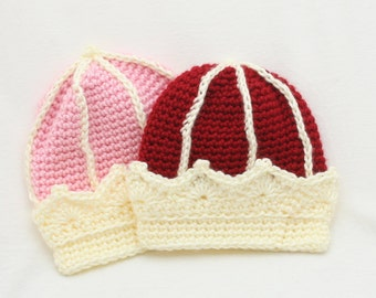 PDF DIGITAL PATTERN:Crochet Crown Hat Pattern, Baby Crown Hat Pattern, Crochet Baby Hat Pattern, Red Baby Hat, Pink Baby Hat,Baby Photo Prop