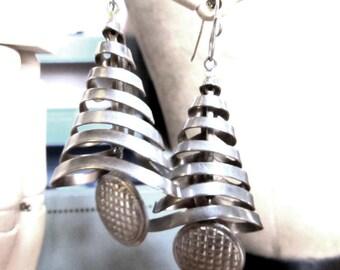 Vintage Mod Repurposed Metal Tree Earrings