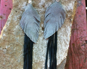 Gray and black long vintage leather feather earrings burningman friendly