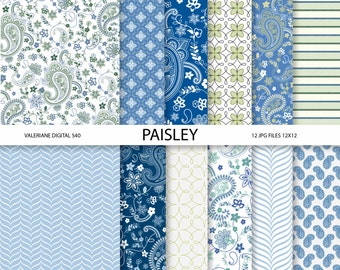 Paisley Digital paper pack in blue and green, digital backgrounds - 12 jpeg files 12x12 - INSTANT DOWNLOAD  540