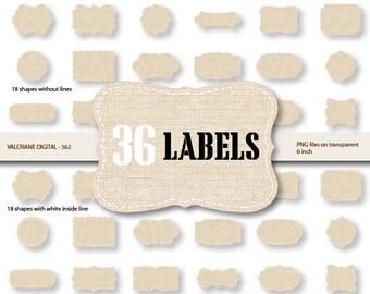 36 Linen Digital Labels , Digital Frames Linen clipart - INSTANT DOWNLOAD Pack 562