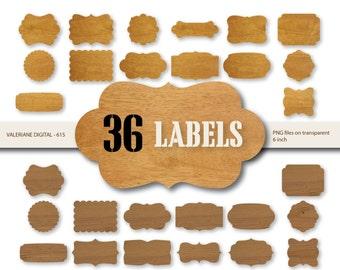 36 Wood Digital Labels , Wood digital frame clipart, Digital Frames Wood clipart,  wooden frames - INSTANT DOWNLOAD Pack 615