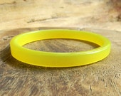 Antique WWII Moonglow Lucite Bangle Bracelet 1940s Lemon Yellow