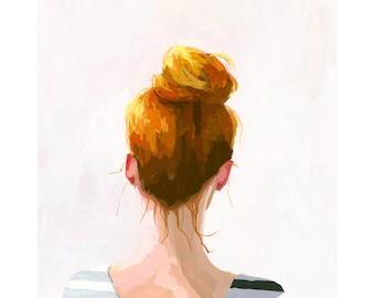 "5x7"" hair art - bun print - ""Top Knot 28"""