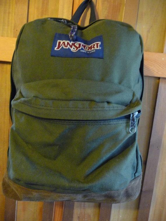 Vintage Jansport Suede Bottom Backpack Jansport army green
