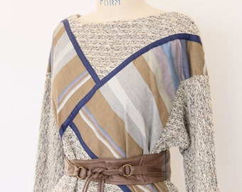 Avant Garde Tunic Top, 70s 80s Knit & Stripe Boho Hippie New Wave combo hipster three quarter sleeve pullover Spring Summer sweater shirt