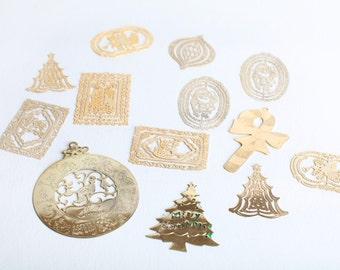 Vintage Gold Filigree Christmas Ornaments, Set of Twelve