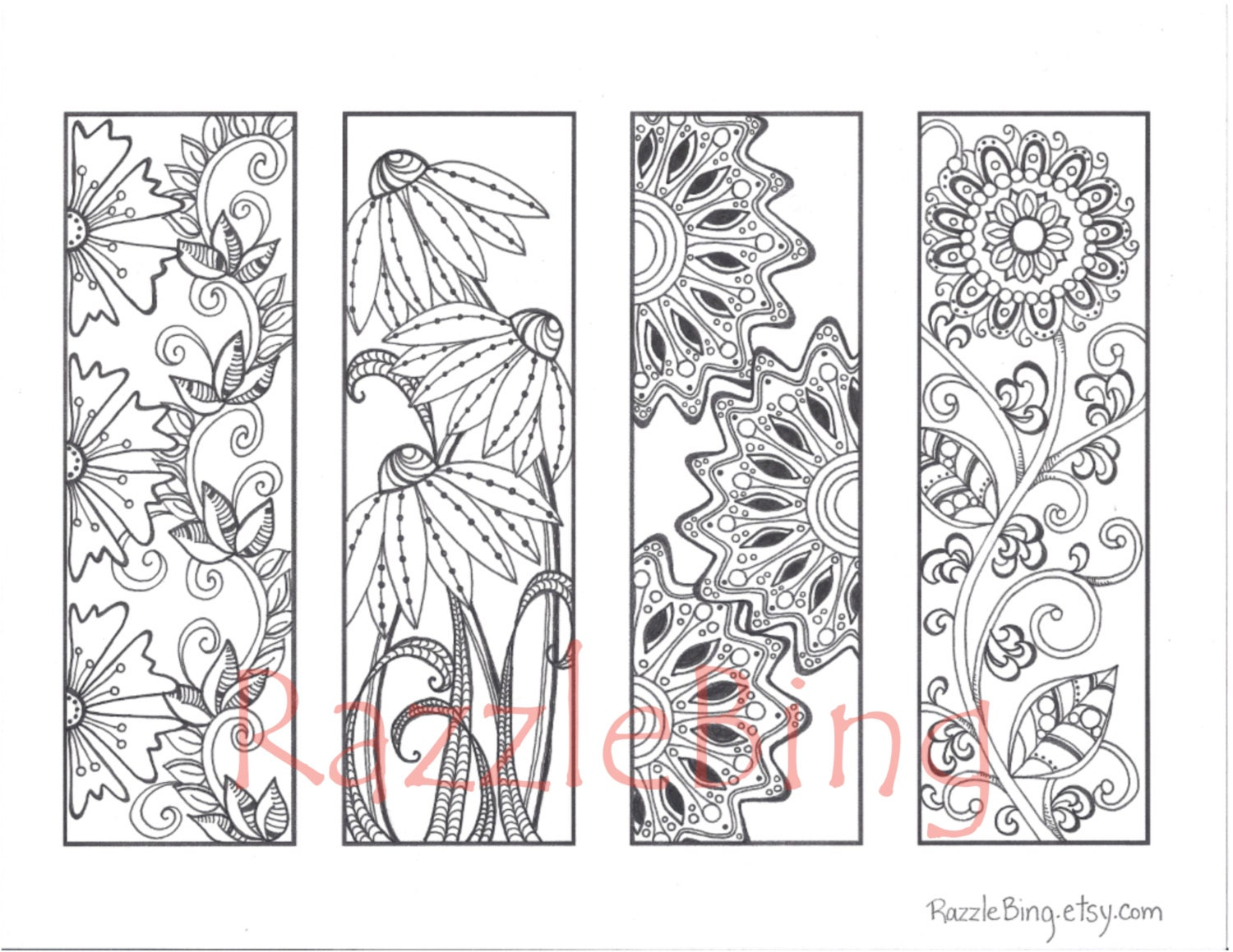 It's just a graphic of Gratifying Printable Bookmarks to Color
