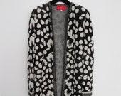 Vintage Emanuel Ungaro Wool Cardigan Coat Outwear Jacket Cheeta black white animal Print size medium small leopard oversized statement