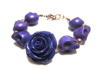 Day Of The Dead Bracelet Sugar Skull Jewelry Purple Skulls Rose