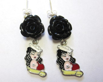 Nautical Earrings Enamel Black Rose Red Rockabilly Pinup Sailor Girl